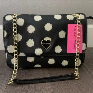 Betsey Johnson Black White Polka Dot Shoulder Bag